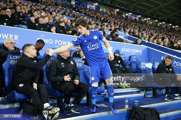 Calgar Soyuncu of Leicester City prepares to come on from the bench during the Premier League match between Leicester City and Watford at King Power...
