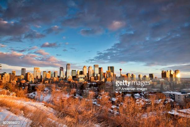 calgary alberta canada at sunrise in winter - calgary stock pictures, royalty-free photos & images