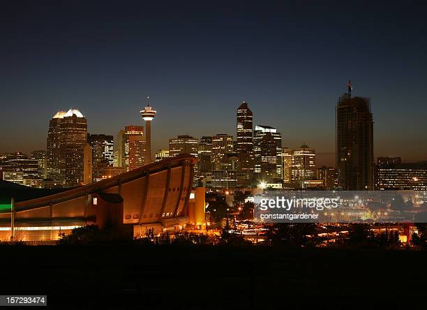 calgary and scotia saddledome at night - calgary stock pictures, royalty-free photos & images