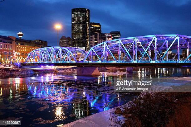 calgary bridge evening light - edmonton stock pictures, royalty-free photos & images