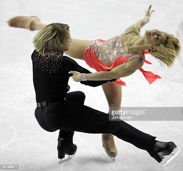Albena Denkova and Maxim Staviski from Bulgaria perform during the Ice Dancing Original Dance 23 March 2006 at the ISU World Figure Skating...