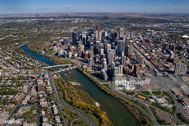 Calgary Canada downtown aerial view