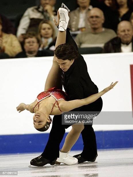 Jessica Dube and Bryce Davison of Canada perform during the Pairs Short program 20 March 2006 at the ISU World Figure Skating Championships being...