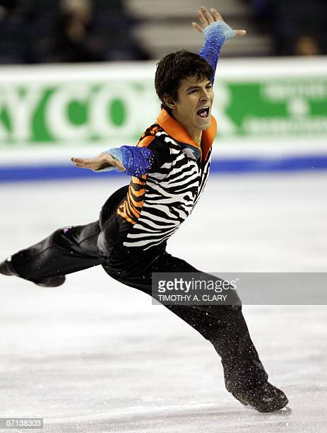 Stephane Lambiel of Switzerland performs during the Men's Qualifying Free Skate program 20 March 2006 at the ISU World Figure Skating Championships...