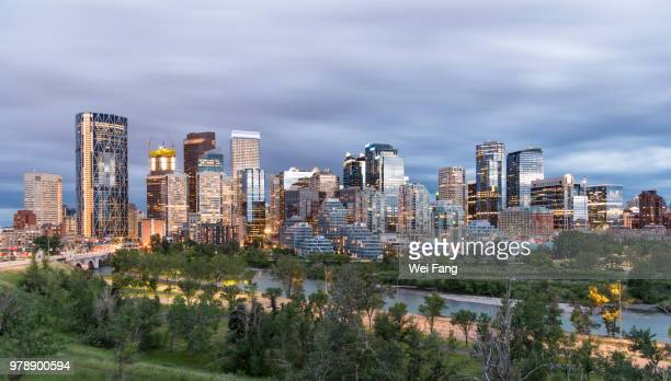 calgary downtown at night - calgary stock pictures, royalty-free photos & images