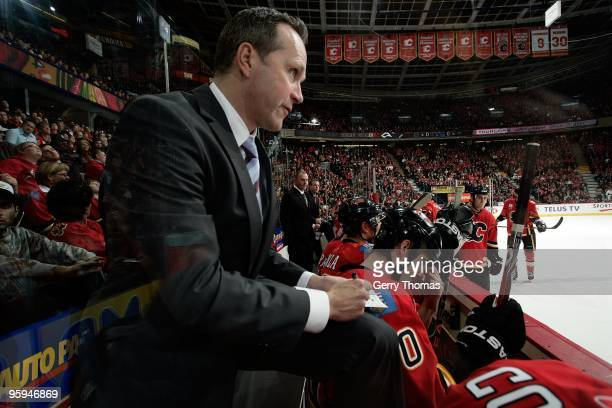 Calgary Flames assistant coach Dave Lowry watches the game against the Nashville Predators on January 15 2010 at Pengrowth Saddledome in Calgary...