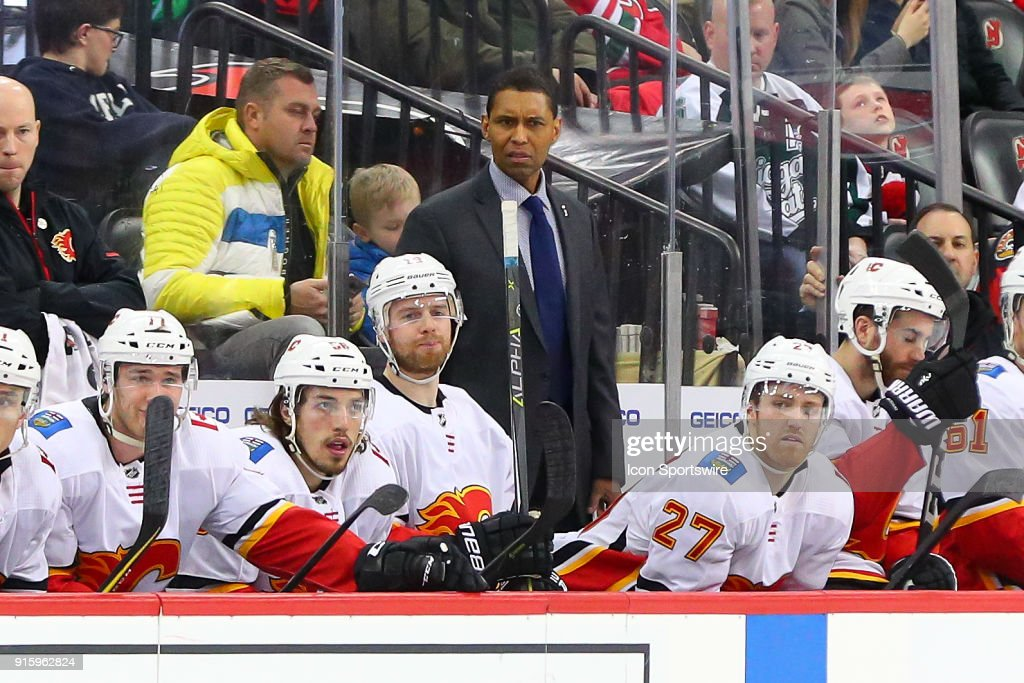 Calgary Flames assistant coach Paul Jerrard during the third period of the National Hockey League game between the New Jersey Devils and the Calgary Flames on February 8, 2018, at the Prudential Center in Newark, NJ.