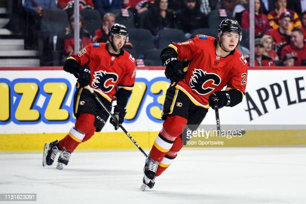 Calgary Flames Center Curtis Lazar and Left Wing Andrew Mangiapane skate during the first period of an NHL game where the Calgary Flames hosted the...