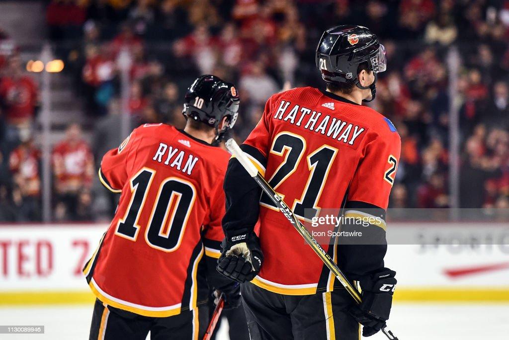 Calgary Flames Center Derek Ryan and Right Wing Garnet Hathaway