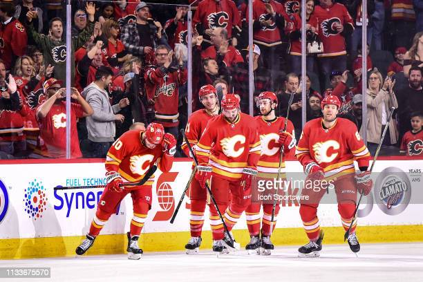 Calgary Flames Center Derek Ryan celebrates a goal with T.J. Brodie , Right Wing Garnet Hathaway , Left Wing Andrew Mangiapane and Defenceman Dalton...