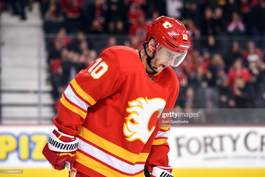 Calgary Flames Center Derek Ryan skates back to the bench after his
