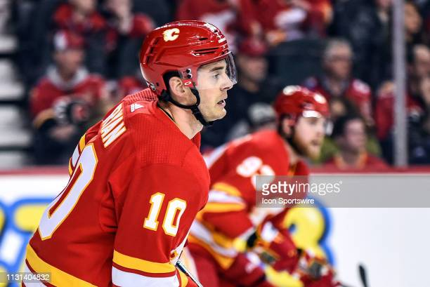 Calgary Flames Center Derek Ryan skates during the first period of an NHL game where the Calgary Flames hosted the New York Rangers on March 15 at...