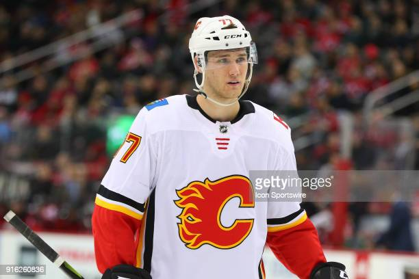 Calgary Flames center Mark Jankowski skates during the second period of the National Hockey League game between the New Jersey Devils and the Calgary...