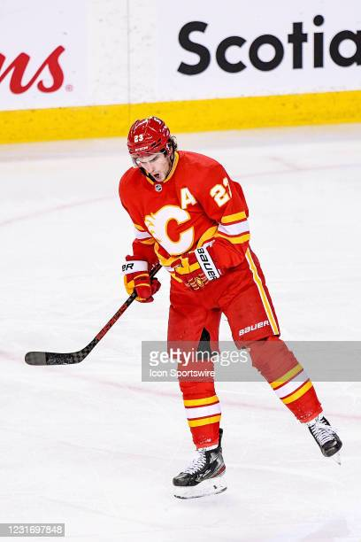 Calgary Flames Center Sean Monahan celebrates after scoring against the Montreal Canadiens during the first period of an NHL game where the Calgary...