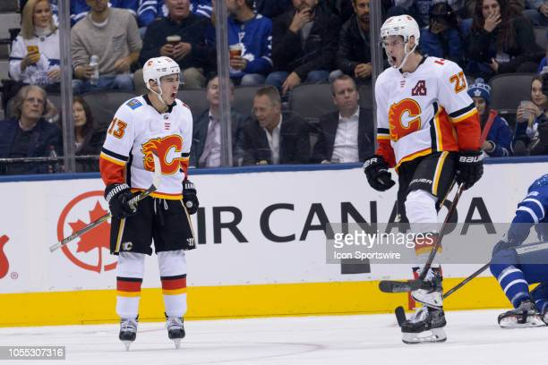 Calgary Flames Center Sean Monahan celebrates his goal with Calgary Flames Left Wing Johnny Gaudreau during the third period of the NHL regular...