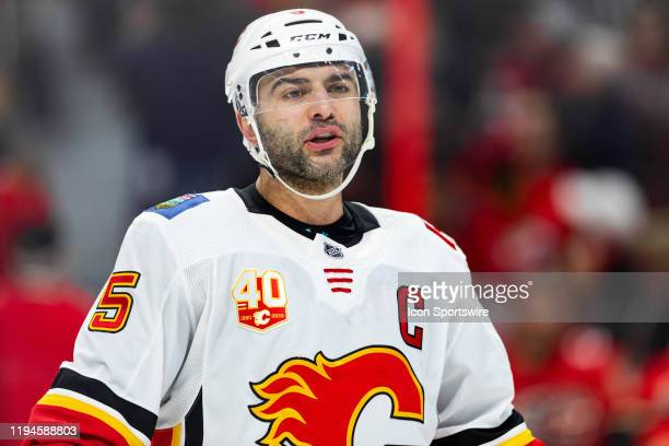 Calgary Flames Defenceman Mark Giordano before a faceoff during second period National Hockey League action between the Calgary Flames and Ottawa...