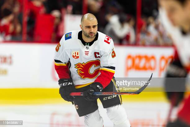 Calgary Flames Defenceman Mark Giordano during warmup before National Hockey League action between the Calgary Flames and Ottawa Senators on January...