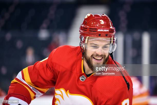 Calgary Flames Defenceman Oscar Fantenberg smiles during warm ups before an NHL game where the Calgary Flames hosted the New York Rangers on March 15...