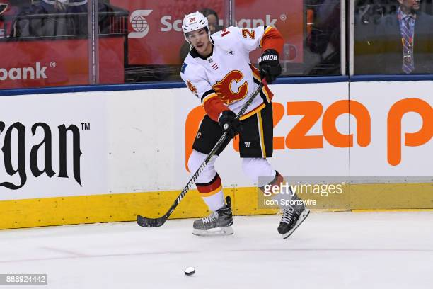 Calgary Flames Defenceman Travis Hamonic in warm ups prior to the NHL regular season game between the Calgary Flames and Toronto Maple Leafs on...