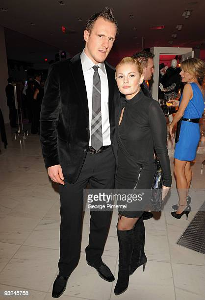 Calgary Flames' defenseman Dion Phaneuf and actress Elisha Cuthbert attend the Holt Renfrew Celebration for their new store in Calgary on November...