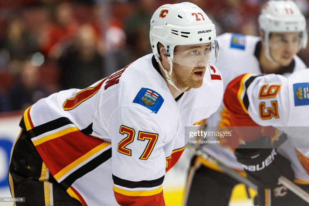 b86144314 Calgary Flames defenseman Dougie Hamilton looks on during the NHL ...