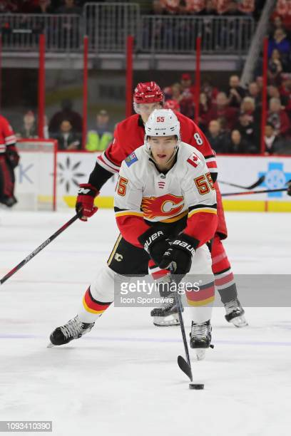 Calgary Flames defenseman Noah Hanifin with the puck during the 1st period of the Carolina Hurricanes game versus the Calgary Flames on February 3rd,...