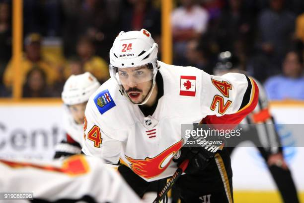 Calgary Flames defenseman Travis Hamonic is shown during the NHL game between the Nashville Predators and the Calgary Flames held on February 15 at...