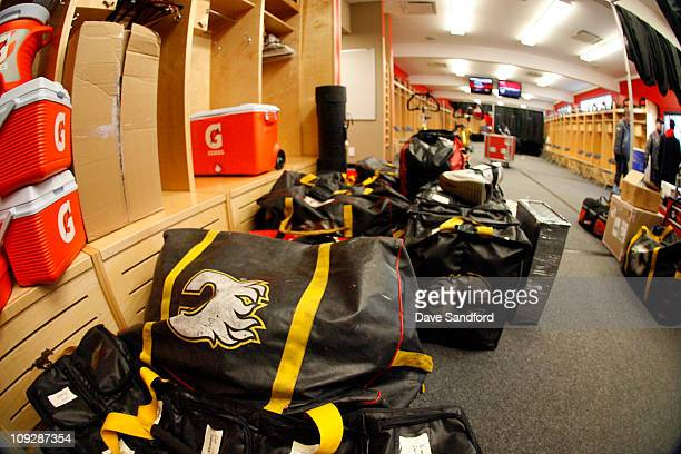 Calgary Flames equipment is loaded into the Calgary Stampeders locker room at McMahon Stadium during buildout for the 2011 Tim Hortons NHL Heritage...