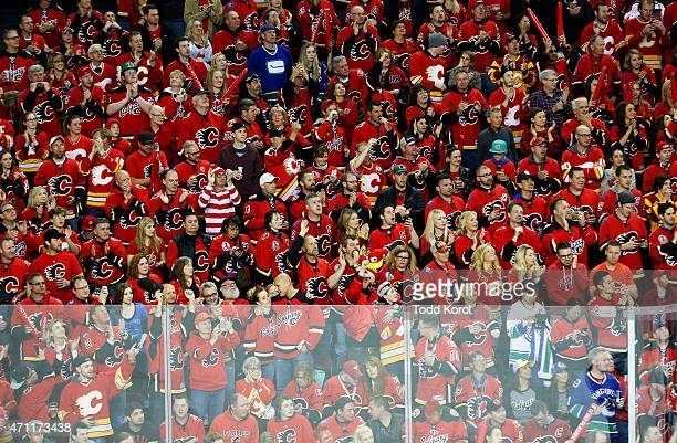 Calgary Flames fan dressed up as 'Where's Waldo' is a sea of red jerseys during Game Six of the Western Conference Quarterfinals during the 2015...