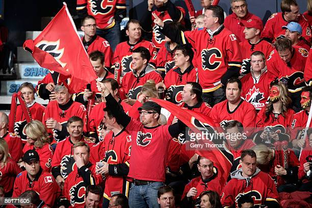 Calgary Flames fans cheer in the C of Red the Chicago Blackhawks during Game Four of the Western Conference Quarterfinal Round of the 2009 Stanley...