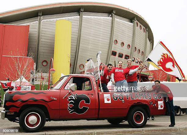 Calgary Flames fans gather outside the arena before the start of game three of the NHL Stanley Cup Finals against the Tampa Bay Lightning on May 29...
