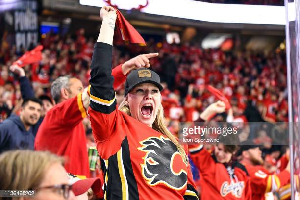 Calgary Flames fans wave towels during the second period of Game One of the Western Conference First Round during the 2019 Stanley Cup Playoffs where...