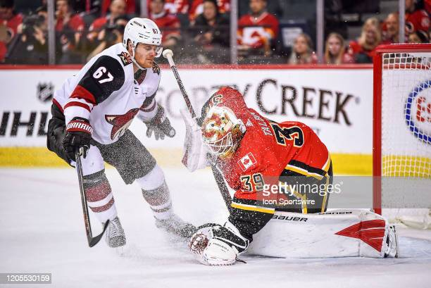 Calgary Flames Goalie Cam Talbot covers the puck as Arizona Coyotes Left Wing Lawson Crouse sprays snow at him during the second period of an NHL...