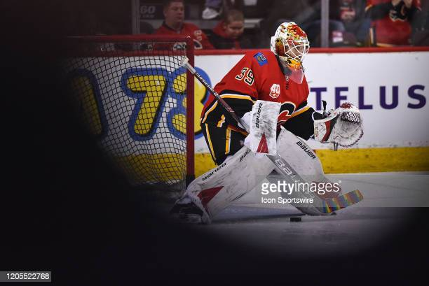 Calgary Flames Goalie Cam Talbot warms up before an NHL game where the Calgary Flames hosted the Arizona Coyotes on March 6 at the Scotiabank...