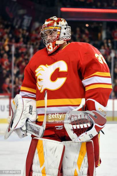 Calgary Flames Goalie David Rittich celebrates a goal by his team during the first period of an NHL game where the Calgary Flames hosted the New York...