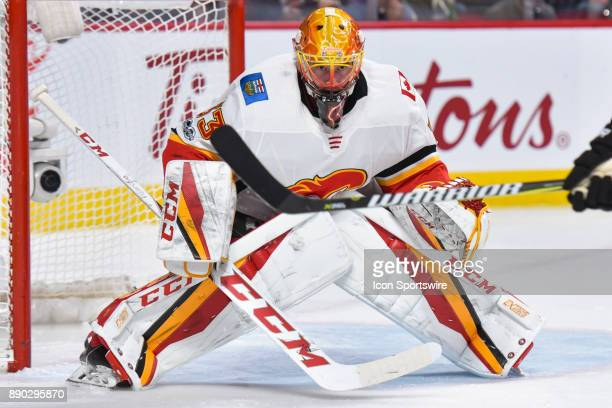 Calgary Flames Goalie David Rittich focused on the play facing him during the Calgary Flames versus the Montreal Canadiens game on December 7 at Bell...