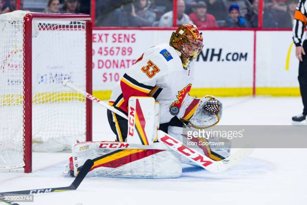 Calgary Flames Goalie David Rittich makes a save during third period National Hockey League action between the Calgary Flames and Ottawa Senators on...
