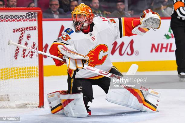 Calgary Flames Goalie David Rittich moves in front of his net during the Calgary Flames versus the Montreal Canadiens game on December 7 at Bell...