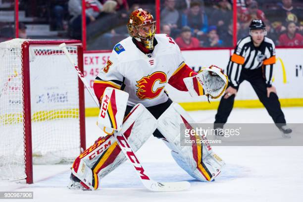 Calgary Flames Goalie David Rittich prepares for a faceoff during third period National Hockey League action between the Calgary Flames and Ottawa...