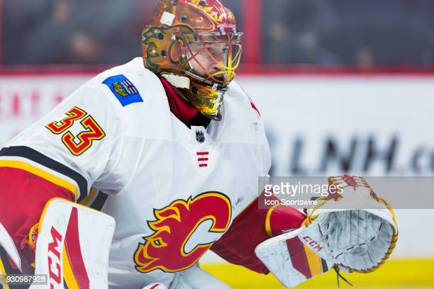 Calgary Flames Goalie David Rittich prepares to make a save during warmup before National Hockey League action between the Calgary Flames and Ottawa...