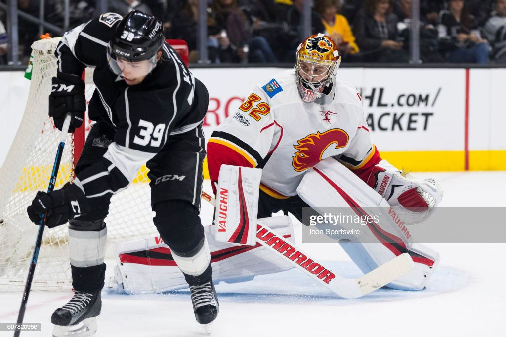 Calgary Flames goalie Jon Gillies (32) during the NHL regular season hockey game between the Calgary Flames and the Los Angeles Kings on April 6, 2017 at the Staples Center in Los Angeles, CA.