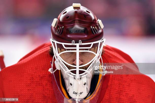 Calgary Flames Goalie Mike Smith warms up before Game Two of the Western Conference First Round during the 2019 Stanley Cup Playoffs where the...