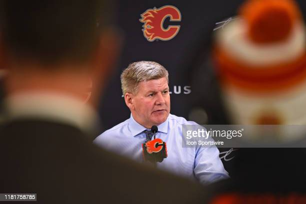Calgary Flames head coach Bill Peters addresses the media after his team beat the New Jersey Devils 52 in an NHL game on November 7 at the Scotiabank...