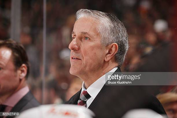 Calgary Flames head coach Bob Hartley leads his team against the Minnesota Wild during the game on April 9 2016 at the Xcel Energy Center in St Paul...