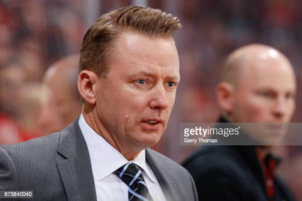 Calgary Flames' head coach Glen Gulutzan in an NHL game against the St Louis Blues at the Scotiabank Saddledome on November 13 2017 in Calgary...
