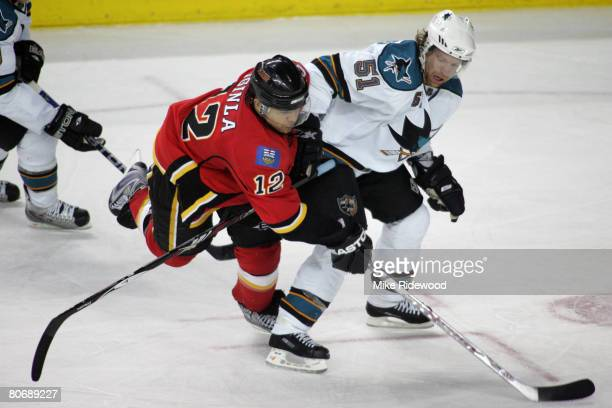 Calgary Flames Jarome Iginla is tied up by Brian Campbell in game four of the 2008 NHL Western Conference Quarterfinals at Pengrowth Saddledome on...