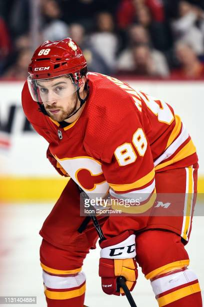 Calgary Flames Left Wing Andrew Mangiapane awaits the face-off during the second period of an NHL game where the Calgary Flames hosted the New York...