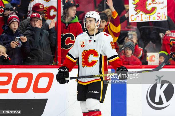 Calgary Flames Left Wing Andrew Mangiapane during warmup before National Hockey League action between the Calgary Flames and Ottawa Senators on...