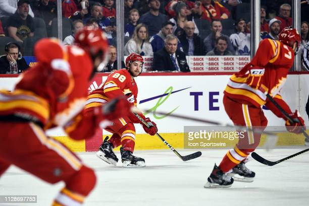 Calgary Flames Left Wing Andrew Mangiapane looks for a pass during the first period of an NHL game where the Calgary Flames hosted the Toronto Maple...