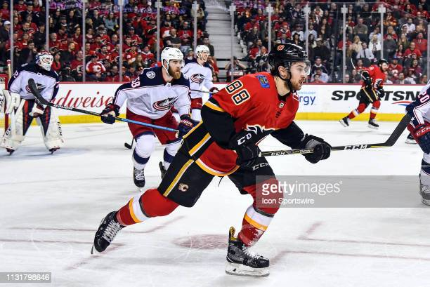 Calgary Flames Left Wing Andrew Mangiapane skates during the second period of an NHL game where the Calgary Flames hosted the Columbus Blue Jackets...